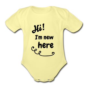 Hi I'm New Here Baby Bodysuit - washed yellow