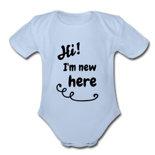 Load image into Gallery viewer, Hi I'm New Here Baby Bodysuit - sky