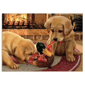 Fireside Friends Holiday Greeting Card 4 pack