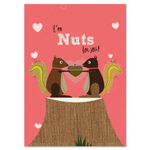 Load image into Gallery viewer, I'm Nuts Squirrels Valentine's Day Greeting Card 4 pack