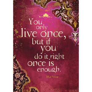 You Only Live Once Birthday Greeting Card 6 pack