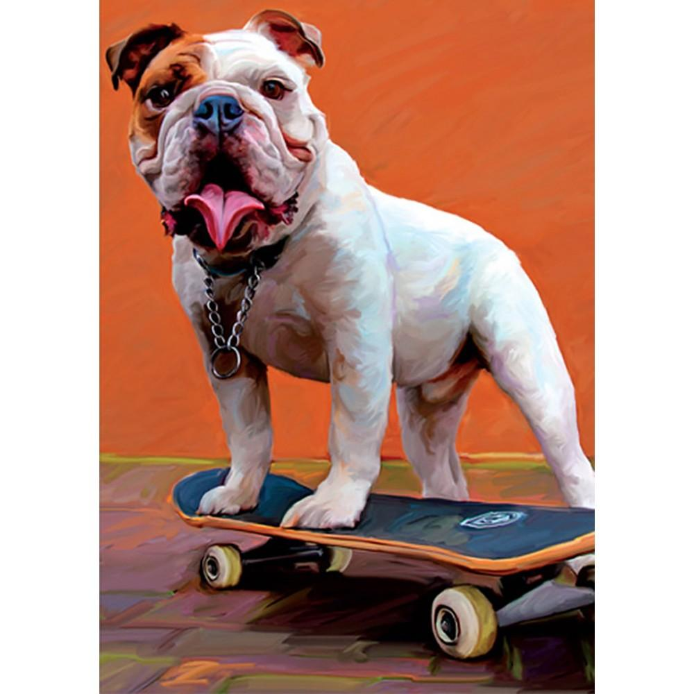 Bulldog Nose Grind Birthday Greeting Card 6 pack