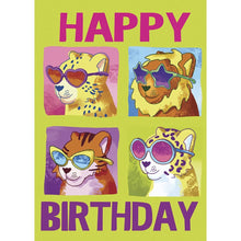 Load image into Gallery viewer, Girls Cool Cats Birthday Greeting Card 6 pack