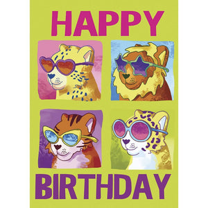 Girls Cool Cats Birthday Greeting Card 6 pack