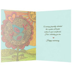 Anniversary Flourish Anniversary Greeting Card 6 pack