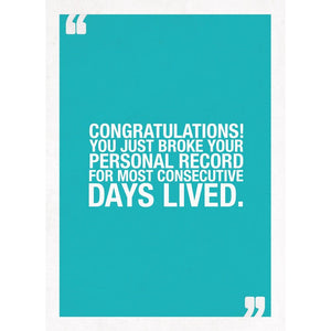 Personal Record Birthday Greeting Card 6 pack