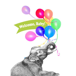 Welcome Baby Elephant New Baby Greeting Card 6 pack