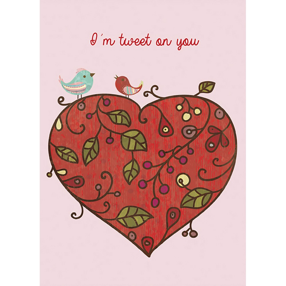 Valentine Lovebirds Valentine's Day Greeting Card 4 pack