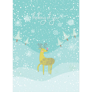 Sweet Reindeer Christmas  Christmas Greeting Card 4 pack