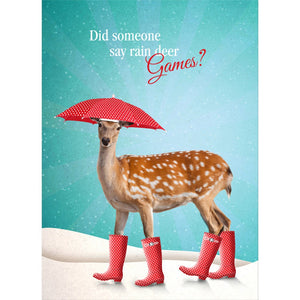 Rain Deer Holiday Greeting Card 4 pack