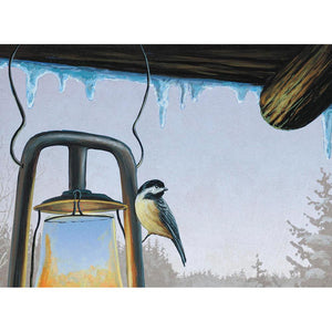 Warm Chickadees  Christmas Greeting Card 4 pack