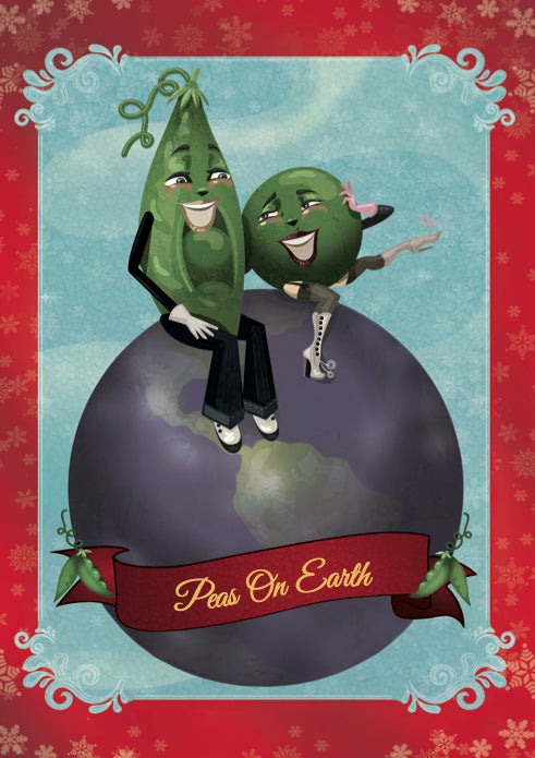 Peas On Earth  Holiday Greeting Card 4 pack