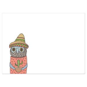 Owl And Cactus Birthday Greeting Card 6 pack