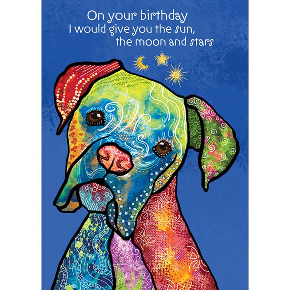 Sun Moon Stars Birthday Greeting Card 6 pack