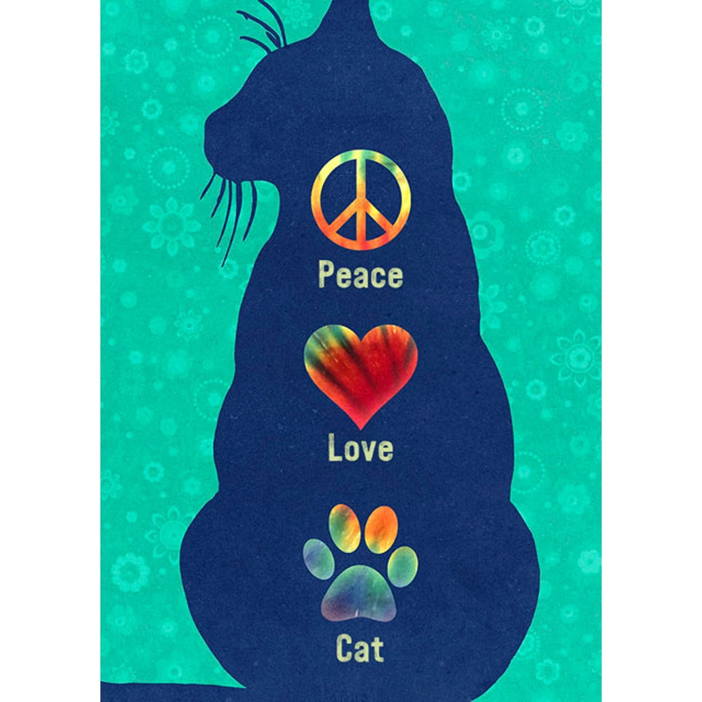 Peace Love Cat All Occasion Greeting Card 6 pack