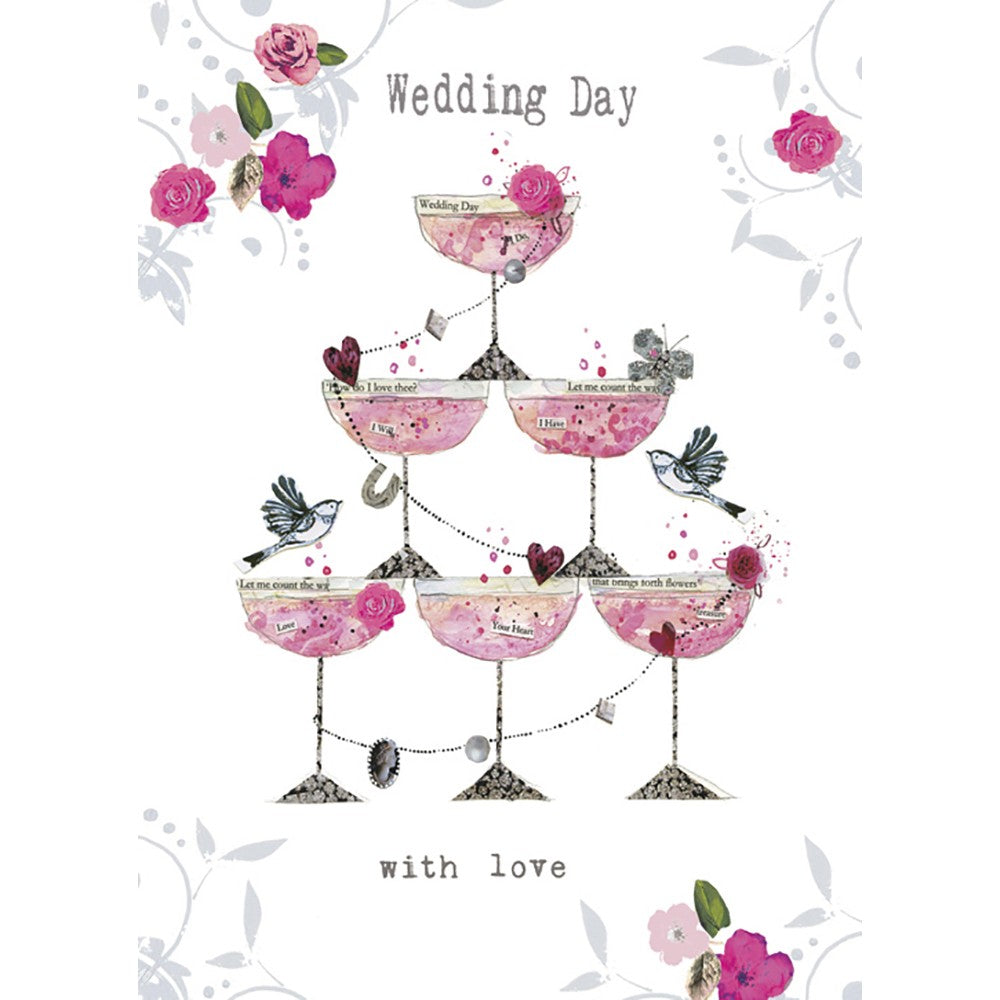 Champagne Piled High Wedding Greeting Card 6 pack