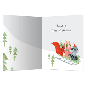 Sleigh Buddies Christmas Greeting Card 4 pack