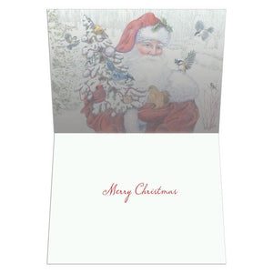 Santa's Flocked Tree Christmas Greeting Card 4 pack