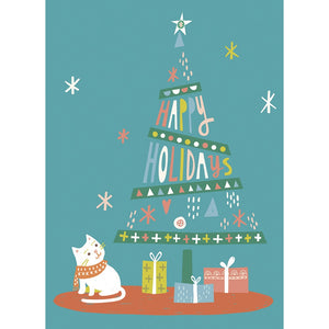 Christmas Cat Christmas Greeting Card 4 pack