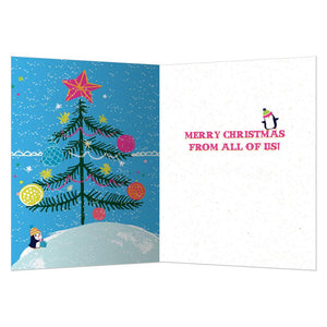 Penguin Cheers Christmas Greeting Card 4 pack