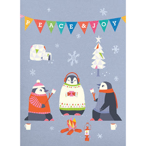 Peace Joy Penguins Christmas Greeting Card 4 pack