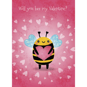 Cute Bee Valentine Valentine's Day Greeting Card 4 pack