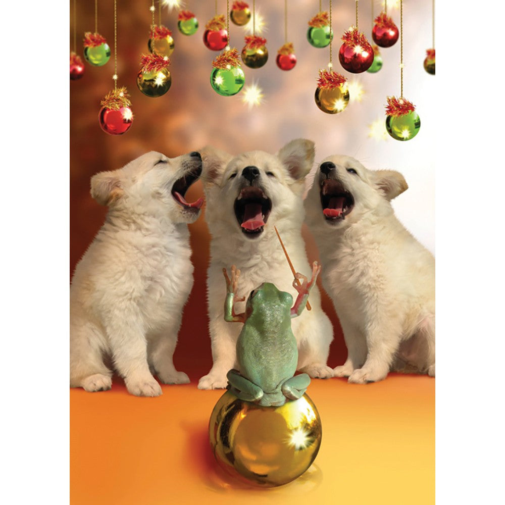 Herald Puppies Christmas Greeting Card 4 pack