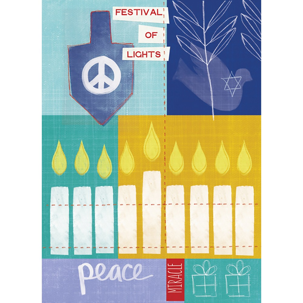 Festival Of Lights Hanukkah Greeting Card 4 pack
