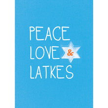 Load image into Gallery viewer, Peace Love And Latkes Hanukkah Greeting Card 4 pack