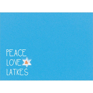 Peace Love And Latkes Hanukkah Greeting Card 4 pack