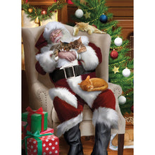 Load image into Gallery viewer, Cat Nap Santa Christmas Greeting Card 4 pack