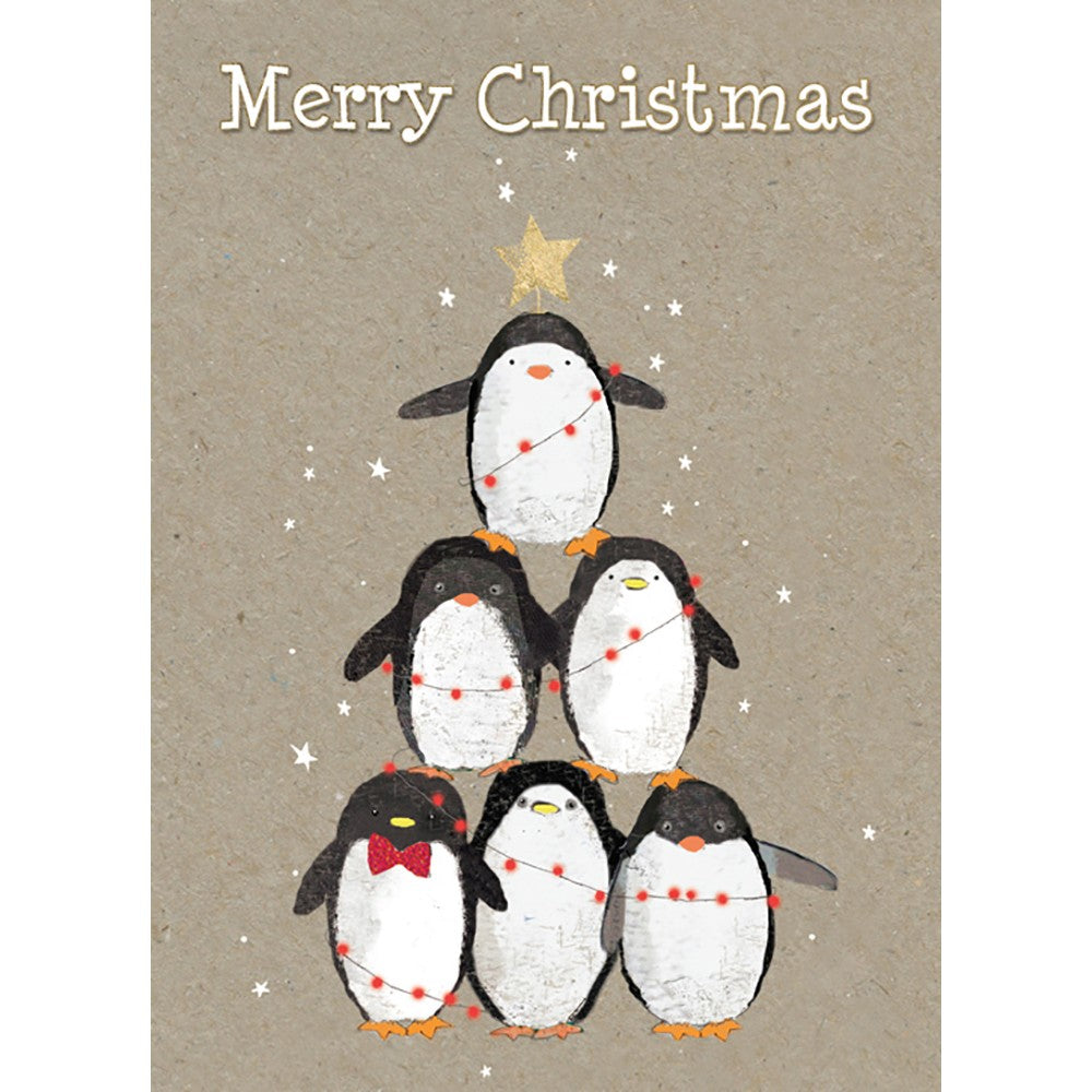 Penguin Pile Christmas Greeting Card 4 pack