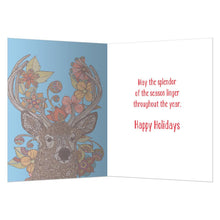Load image into Gallery viewer, Vibrant Reindeer Holiday Greeting Card 4 pack