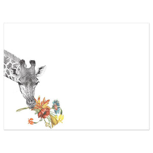 Floral Giraffe Thanks Thank You Greeting Card 6 pack