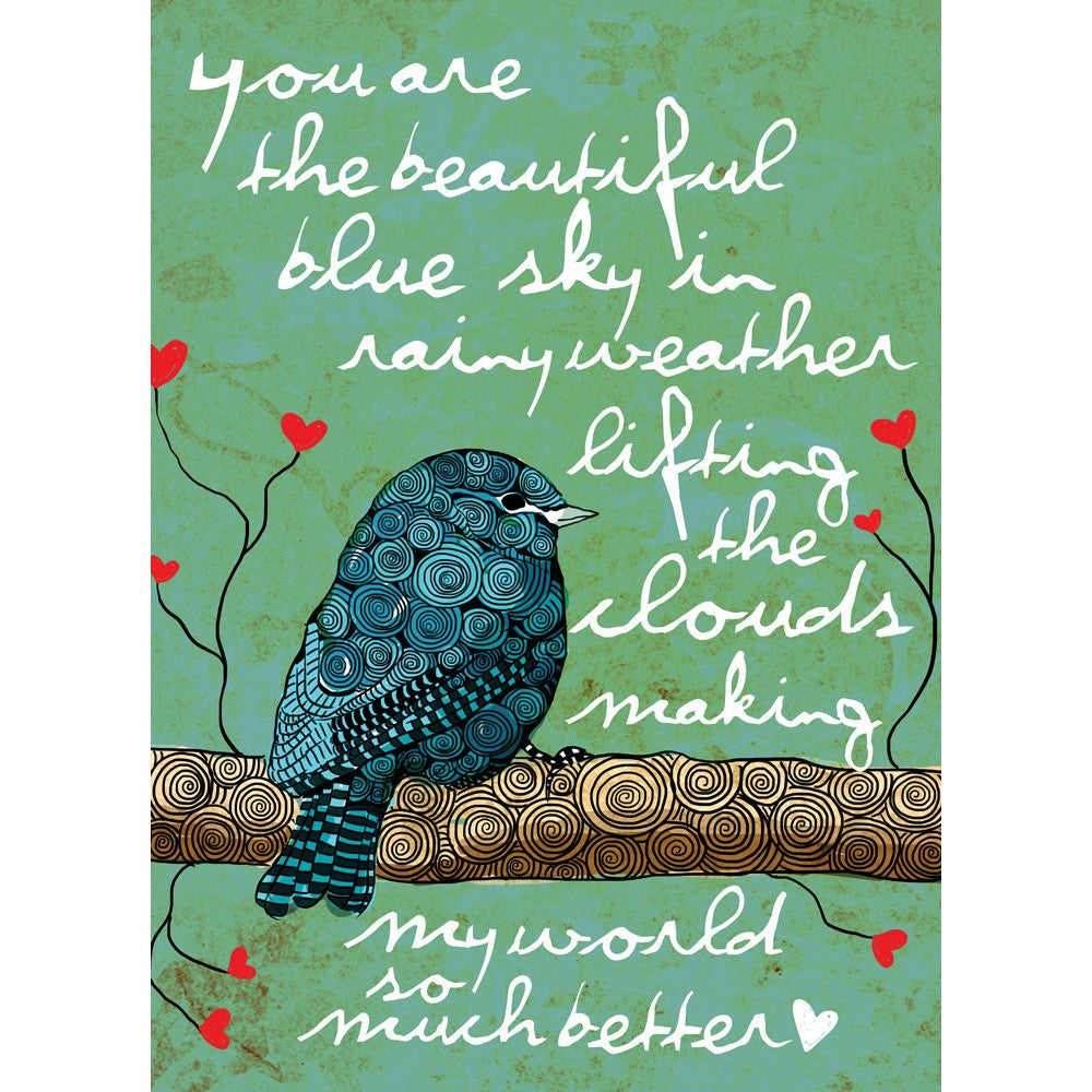 You Are The Blue Sky Friendship Greeting Card 6 pack