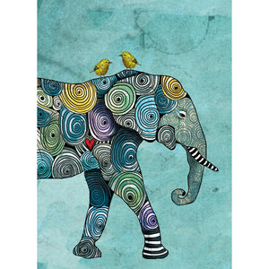Elephant And Yellowbirds All Occasion Greeting Card 6 pack