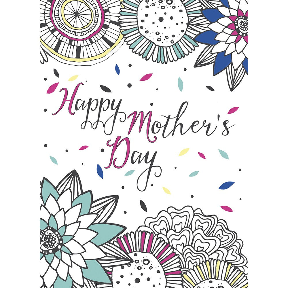 Mother's Day Doodle Mother's Day Greeting Card 4 pack