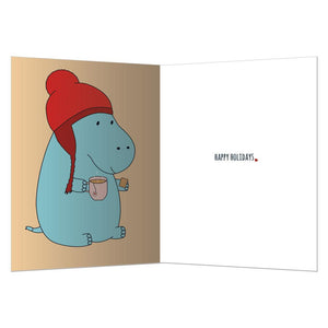 Hippo Holidays Holiday Greeting Card 4 pack