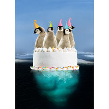 Load image into Gallery viewer, Penguin Cake Birthday Greeting Card 6 pack