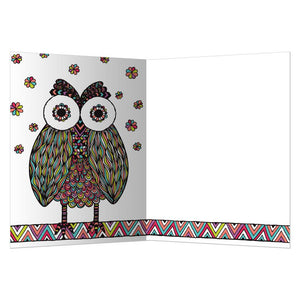 Vibrant Owl All Occasion Greeting Card 6 pack