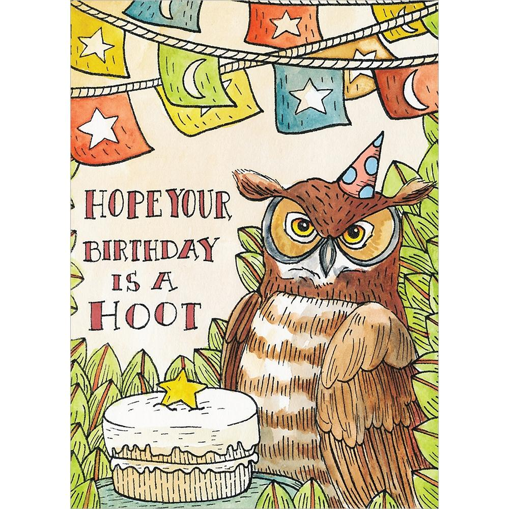 Real Hoot Birthday Greeting Card 6 pack