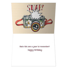 Load image into Gallery viewer, Oh Snap Birthday Greeting Card 6 pack