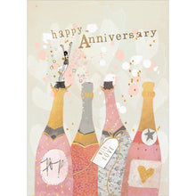 Load image into Gallery viewer, Champagne Wishes Anniversary Greeting Card 6 pack