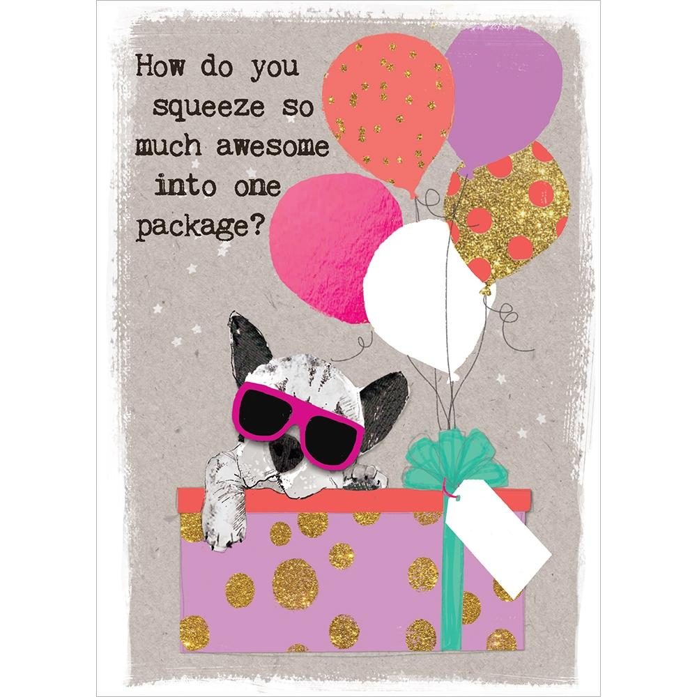 Awesome Package Birthday Greeting Card 6 pack