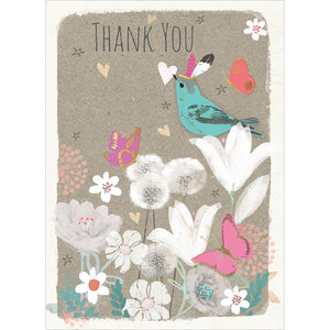 Floral Bird Thanks Thank You Greeting Card 6 pack