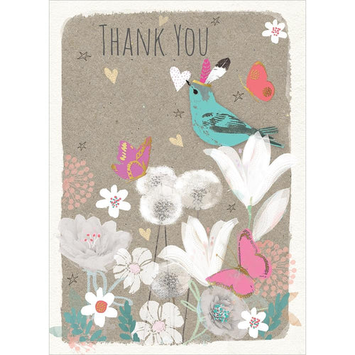 Send This Floral Bird Thanks Thank You Card