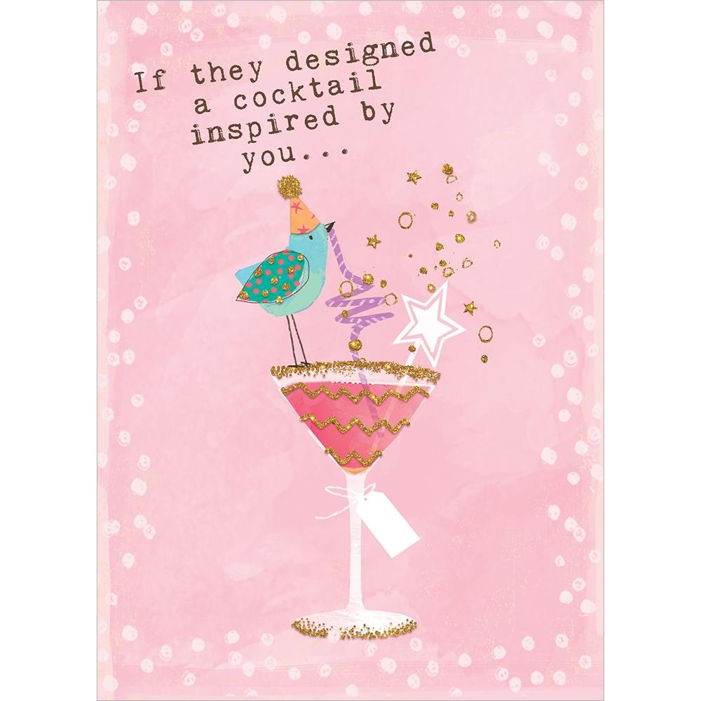 Designer Cocktail Birthday Greeting Card 6 pack