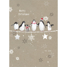 Load image into Gallery viewer, Balancing Penguins Christmas Greeting Card 4 pack