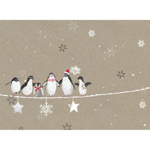 Balancing Penguins Christmas Greeting Card 4 pack
