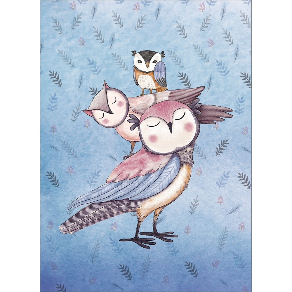 Piled High Owls Baby Shower Greeting Card 6 pack
